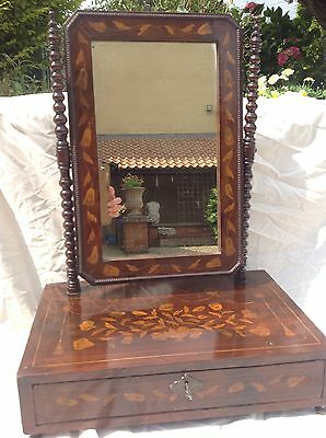 PRETTY & RARE 18thC DUTCH MARQUETRY DRESSING MIRROR INLAID WITH FLOWERS & SWAGS