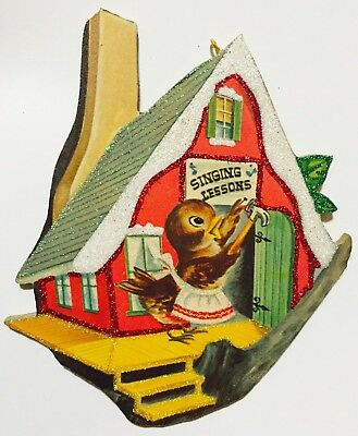 Bird House Singing Lessons VTG Book Image Glittered Christmas Ornament