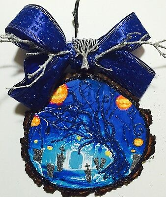 Wood Slice Halloween Pumpkin Haunted Graveyard Glittered Ornament Greeting Card
