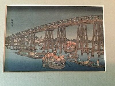 Ryogoku Bridge Famous Places Of Edo, Early 20th Century Japanese Woodblock Print