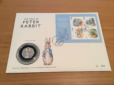 2016 Beatrix Potter Silver Proof 50p Coin - Peter Rabbit First Day Cover - Rare