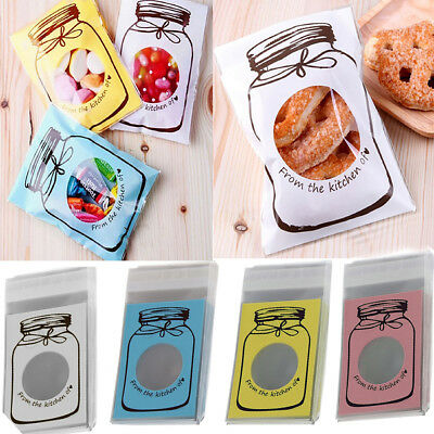Cute Bottle Cellophane Party Treat Cooky Candy Gift Bags Self Adhesive 100Pcs
