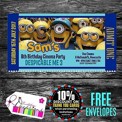 Personalised Birthday Invitations Despicable Me 3 Movie Ticket Cinema Party X 5