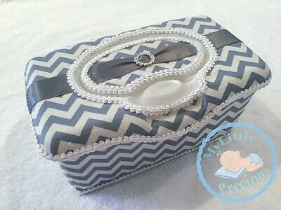 Grey Chevron Wipes Large Box Tub Dispenser. Gray Zigzag Wipes Case Container Box