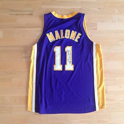 KARL MALONE Los Angeles lakers Nike signed JERSEY AUTOGRAPH AUTO