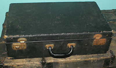 "Antique Vintage Suitcase Luggage Black 21"" x12 1/2"" x 6"" Leather Wood Satin"