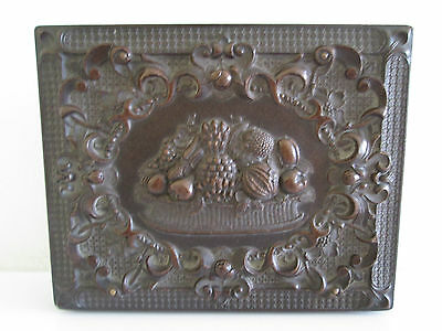 *wow Beautiful Antique Carved Fruit In Relief Dark Wood Double Photo Frame Treen