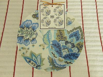 """222 Fifth Mirabelle Blue Set of 4 Round 6-1/2"""" Appetizer Plates New"""