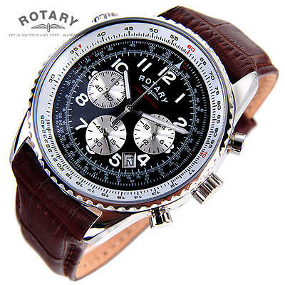 Rotary Men's Watch Chronospeed Chronograph quartz brown Leather Strap Watch NEW