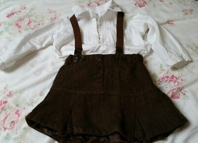 Cute H&M baby girls outfit. Skirt with braces and white blouse. Age 9-12 months