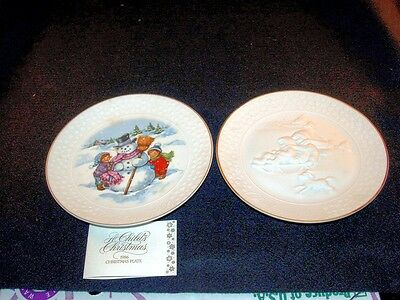 2 Avon A Child's Christmas  Porcelain Plates-1985 & 1986 Trimmed In Gold, Iob