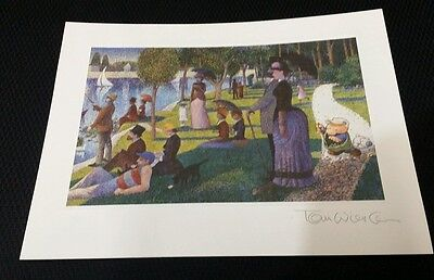 ZIGGY PRINT AUTOGRAPHED BY TOM WILSON Earth Day Sunday Afternoon Painting Seurat