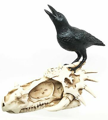 """Vulture Crow Raven Perching On Dragon Skull Fossil Figurine Sculpture 9"""" Long"""