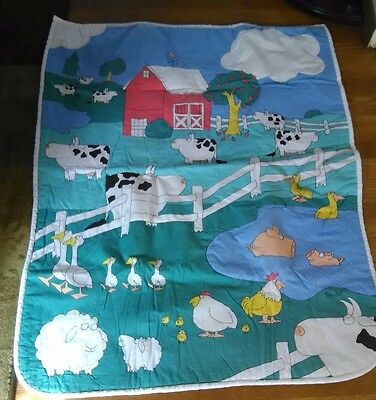 Baby Blanket Vintage Nursery Quilt Little Red Barn With Cows & Animals