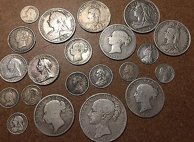 Large Collection Of UK Queen Victoria Coins!  21 Coins!  Many Varieties!