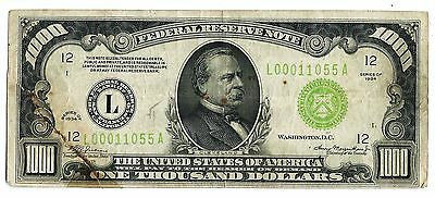 1934 1000 Thousand Dollar Bill Federal Reserve Note San Francisco LOW Serial DGS
