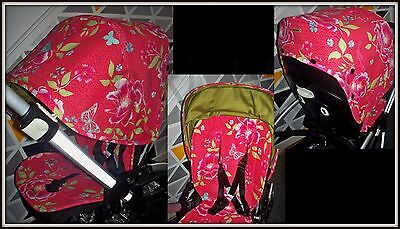Custom made hood and universal reversible seat liner fit Bugaboo Bee+ Bee3 Bee5