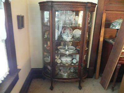 Antique Oak Curved Glass China Cabinet with Claw Feet