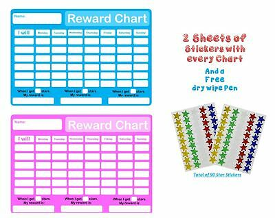 RE-USABLE Childrens Behaviour Reward Chart Pen And Star Stickers Pink + Blue