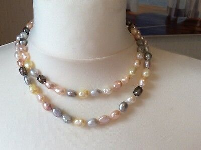 "Freshwater Pearl Necklace 32"" Multi Colour Excellent Condition"