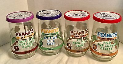 Welch's PEANUTS COMIC CLASSICS Jelly Drinking Glasses # 1-3-4-6 +LIDS