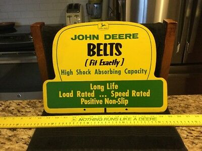 Vintage Sign - John Deere Masonite Dealership Sign -  Belts (Fit Exactly) - MINT