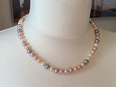 "Freshwater Pearls 18"" Necklace Multi Colour Gold Clasp Excellent Condition"