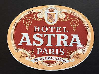 Hotel Luggage Label | Hotel Astra Paris France Deco