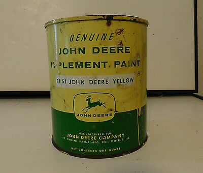 John Deere Paint Can Implement Paint Yellow Vintage Antique Farm Agriculture Can