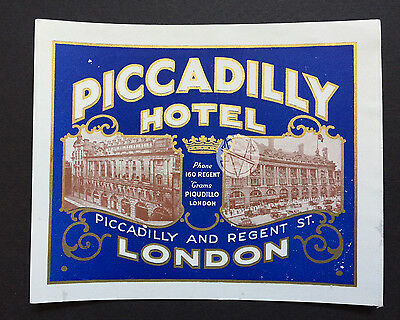 Hotel Luggage Label | Piccadilly Hotel London Early