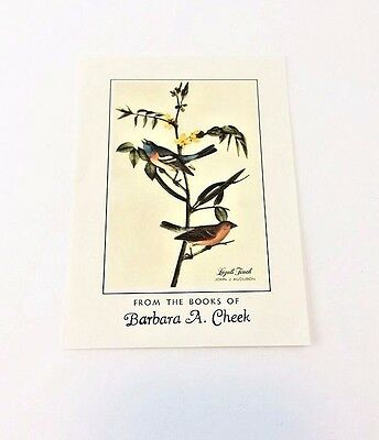 Antioch Audubon Finch Book Plates Owner Customized Vintage Box o 50 Craft Supply