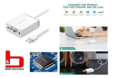 Ugreen Scheda Audio Esterna Adattatore USB a 3.5mm Aux Stereo 2RCA per PC e  Mac