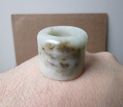 Antique old Chinese MING to QING DYNASTY Gray CELADON JADE Archer's THUMB Ring