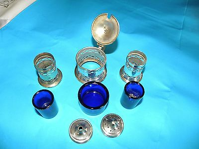 Silver plated condiment set with blue glass inserts
