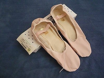 NEW Main Street Womens Leather Dance Ballet Flats Slipper Shoes PINK size 10 M