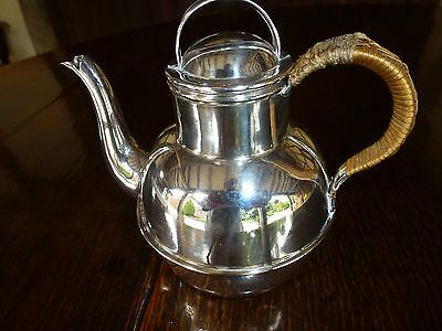 Silver plated Guernsey jug Wicker handle 1 pint
