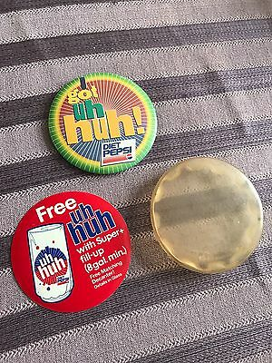 Vintage Diet Pepsi Got Uh Huh! Pinback w/ Uh Huh Glass Offer Paper Overlay