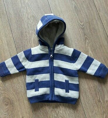 Baby Boys Fleece Lined  Hooded Jacket/ Cardigan Age 0-1 Month New