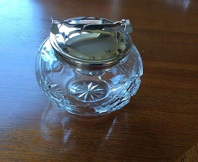 Vintage Cut Glass Sugar Bowl With Pascall Patent EPNS Mechanical Tongs