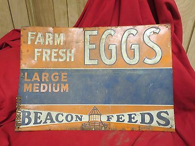 Rare Vintage Beacon Feeds Farm Fresh Eggs large medium porcelain enamel sign