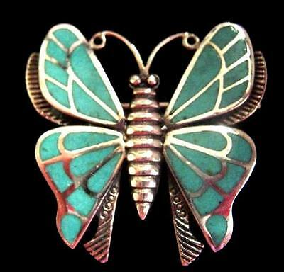 """Sterling Silver Turquoise Butterfly Brooch Pin Vintage Art Deco style 1"""" 9.7g"""