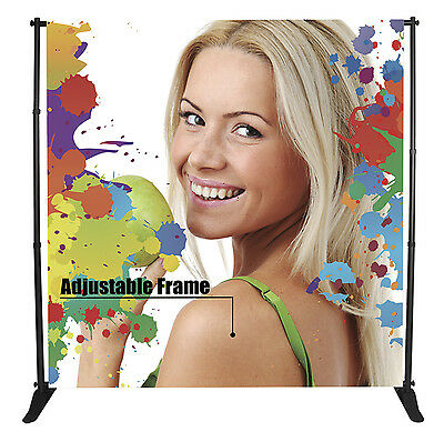 8x10 Step and Repeat Backdrop, Large Tube Telescopic Adjustable Banner Stand