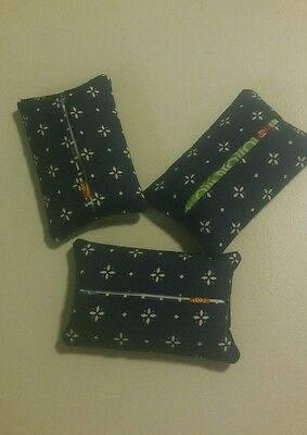 Set/3 Longaberger Classic Blue Handmade Purse Size Tissue Holders W/ Tissue