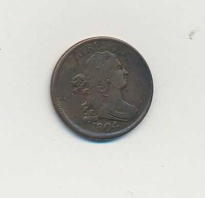 1804 Draped Bust Half Cent -Great Looking Early Half Cent- Shipping Is Free!