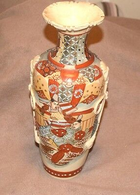 Japanese Vase with Samurai warriors and relief decoration character mark to base