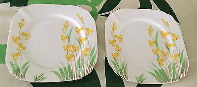 Handpainted Bell China Sideplates X 2 Both With Faults