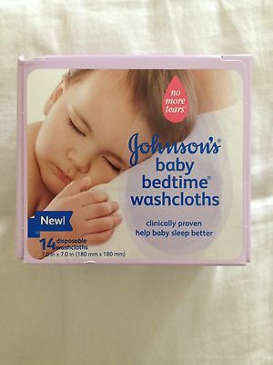 New! Johnson's Baby Bedtime Disposable Washcloths 14 Count