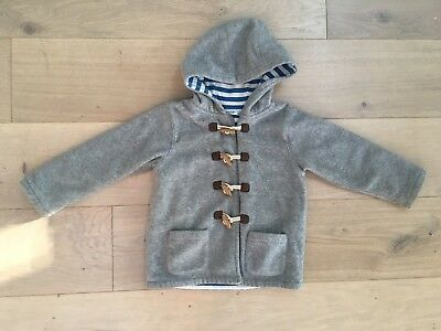 Baby Boden Toggle Hooded Striped Lined Jacket Size 2-3 Years Gray White Blue