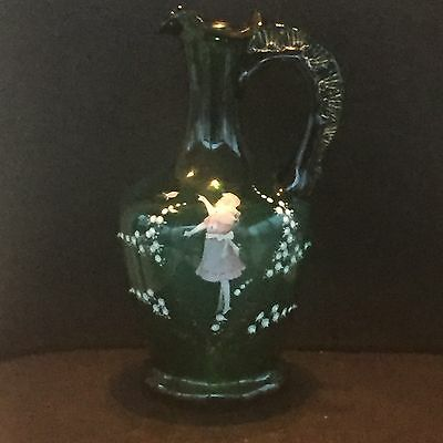 Vintage Mary Gregory Fluted Green Glass Pitcher