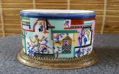 Germany Art Deco Porcelain Ink Well With Copper Mount